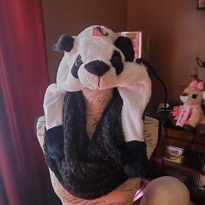 Panda knit cap, matching 😷 and infinity scarf